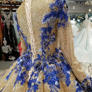 Image 5 - LS741100 shiny muslim women occasion dresses 2018 long sleeve o neck blue flowers golden ball gown evening dress fast shiping
