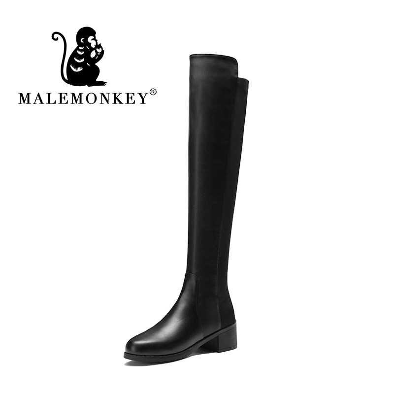 Malemonkey 942757 Giày Bốt Nữ Sexy Over-The-Đầu Gối Giày Bốt Thời Trang Da Lộn PU Đùi Cao Cấp Giày Nữ Mùa Đông giày Bốt Nữ Đen