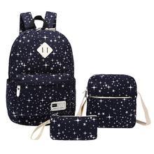 цены на 3PCS Women Backpack School Bag Fashion Star Student Backpacks Laptop Bags For Lady Female Teenager Girl Travel Outdoor Rucksack в интернет-магазинах