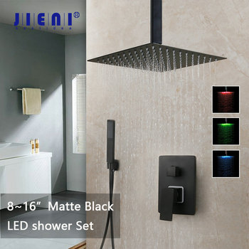 JIENI 8 12 16 Inch Black Bathroom Shower Faucet Set Ceiling Mount Black LED Shower Head Mixer Tap W/ Rainfall Shower Faucets Set