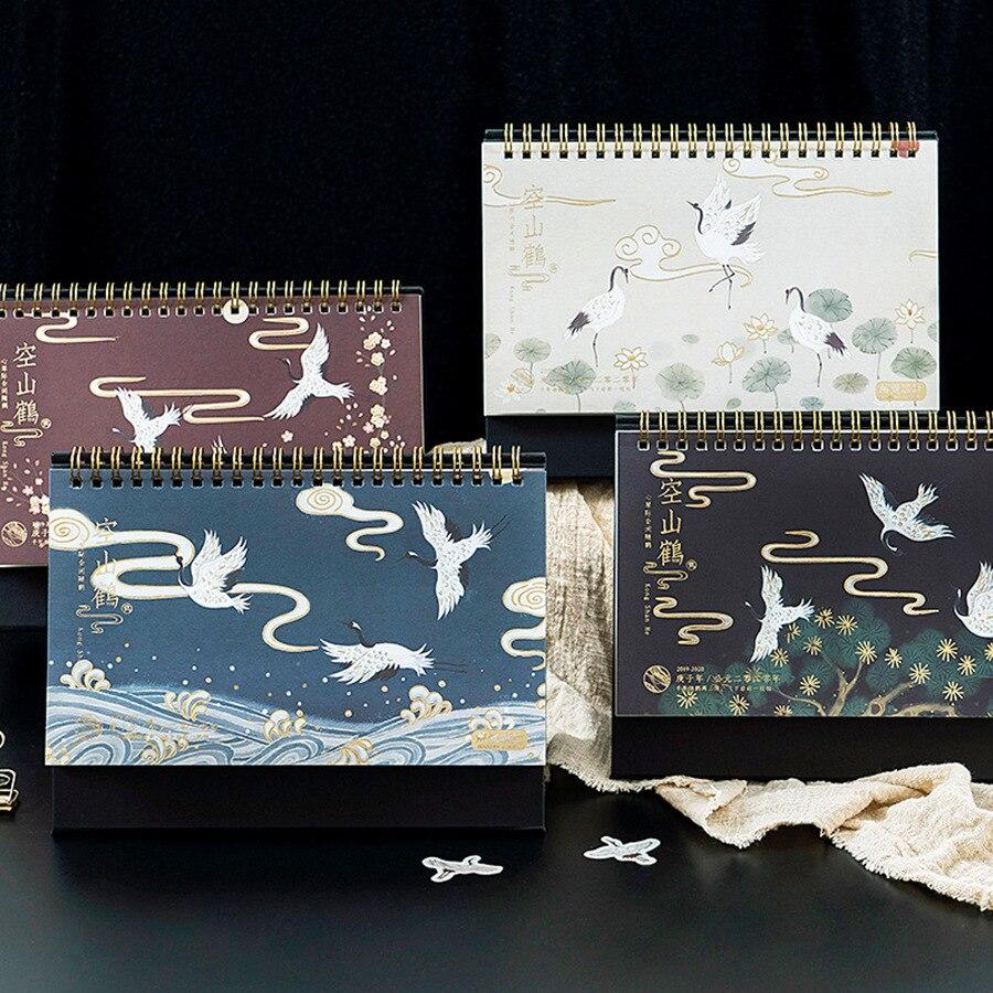 2020 Retro Japanese Style Crane Theme Desktop Calendar DIY Coil Calendars Daily Schedule Planner 2019.09-2020.12