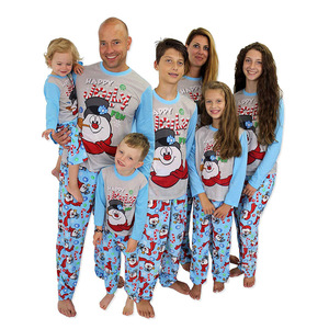Family Matching Outfit Parent Child Two Piece Long-Sleeved Boys Girls Cotton Christmas Snowman Print T-Shirt Pants Pajamas