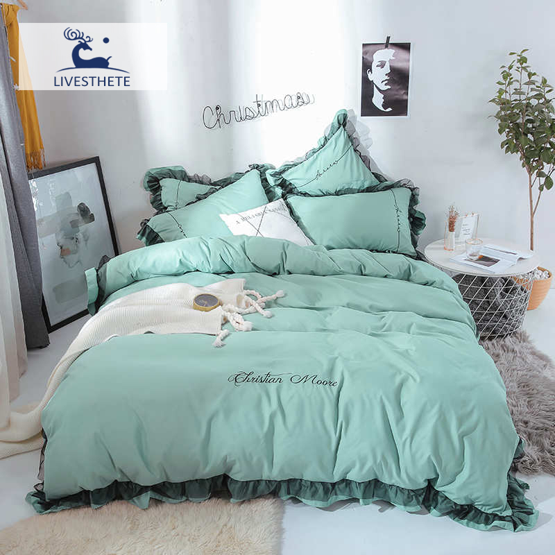 Liv-Esthete Luxury Beauty Green 100% Cotton Bedding Set Lace Printed High Quality Duvet Cover Flat Sheet Queen King Girl Gift
