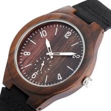 Ebony Dial Quartz Men's Wood Watch Classic Black Leather Woo