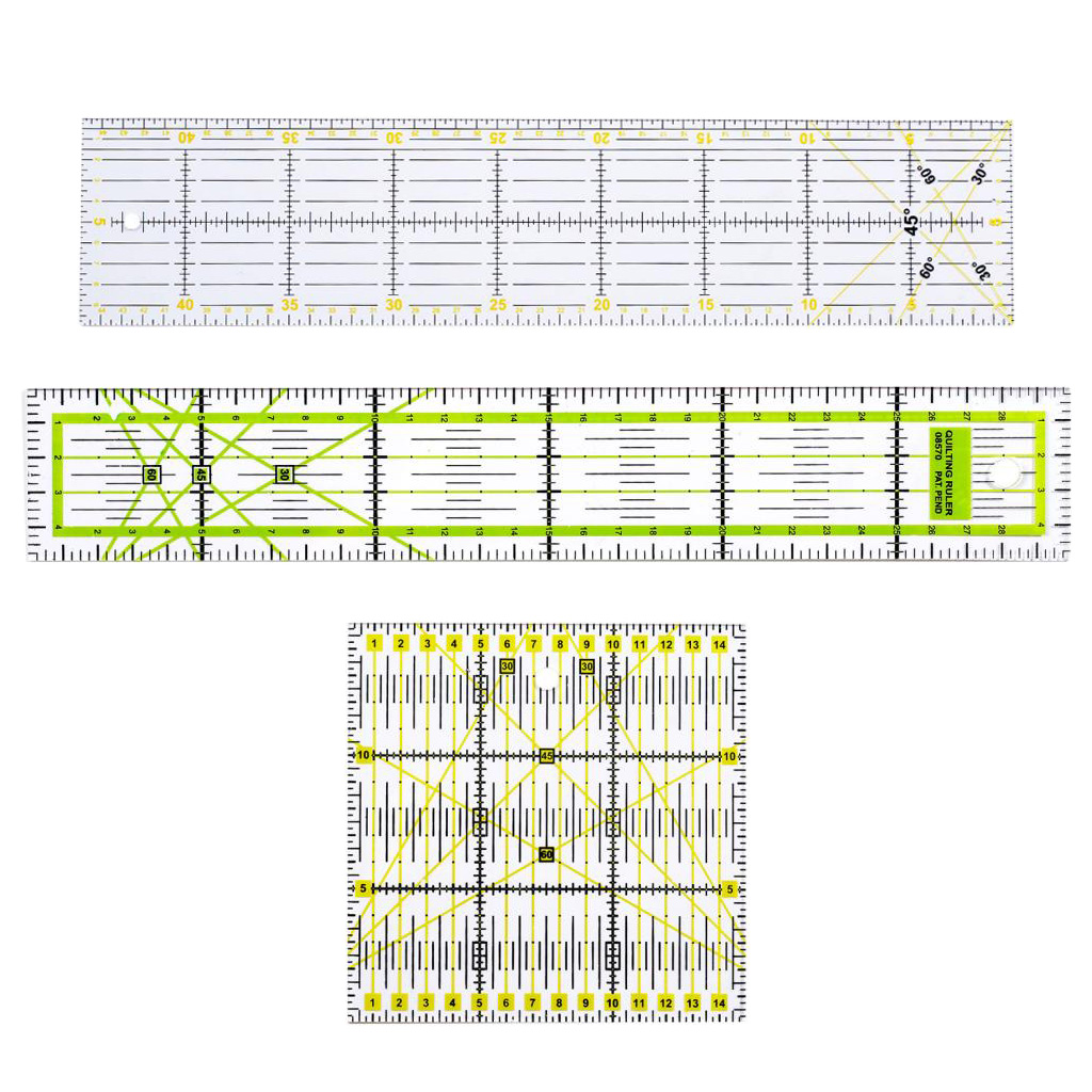 3pcs/set Acrylic Multi-function Clothing Ruler Sewing Patchwork Feet Tailor Yardstick Cloth Cutting Rulers 15*15/15*45/5*30cm