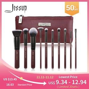 Image 1 - Jessup Makeup Brushes Set & Cosmetic Bag Dropshipping pincel maquiagem Concealer Eyelashes Eyeshadow brushes 10pcs T259 CB004
