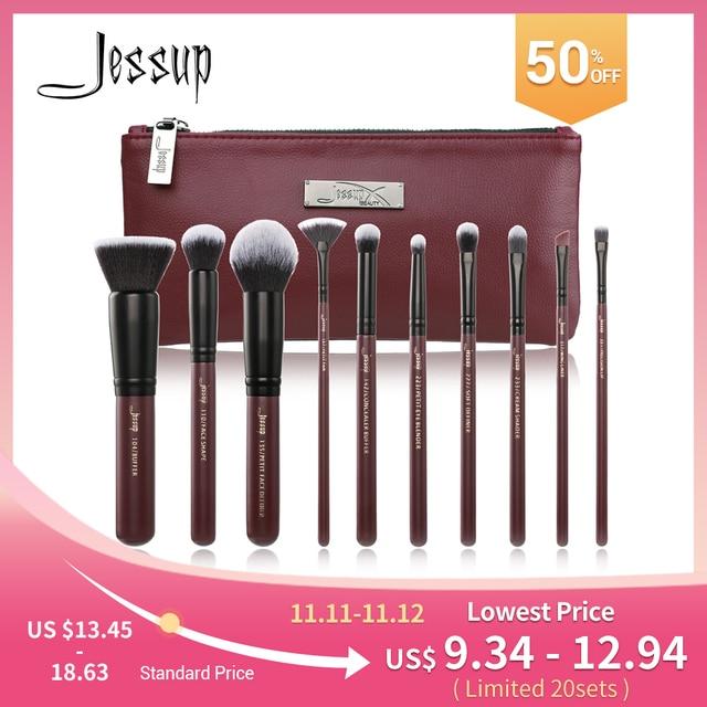 Jessup Makeup Brushes Set & Cosmetic Bag Dropshipping pincel maquiagem Concealer Eyelashes Eyeshadow brushes 10pcs T259 CB004
