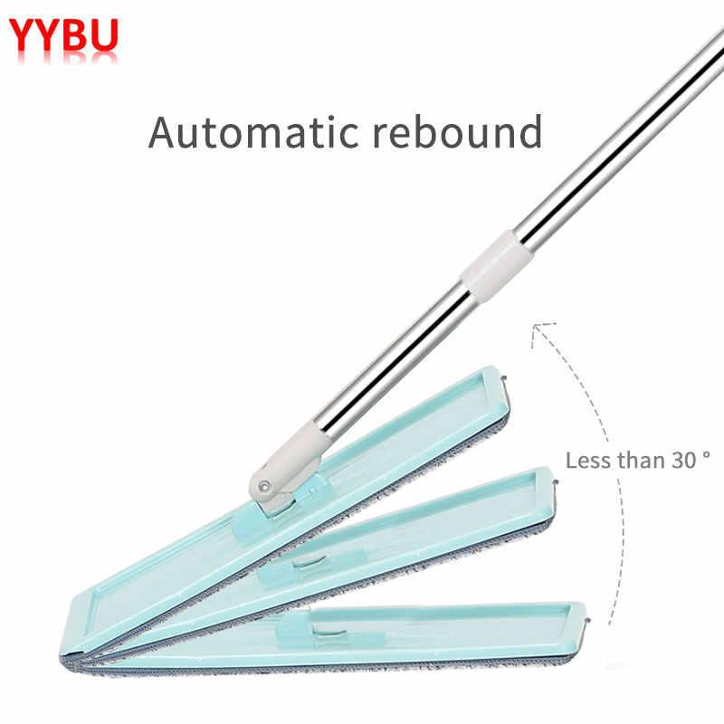 YYBU ドロップ無料モップバケット 4 個交換モップ布マジックフロアクリーニングスクイズフラットモップ台所の床クリーナー