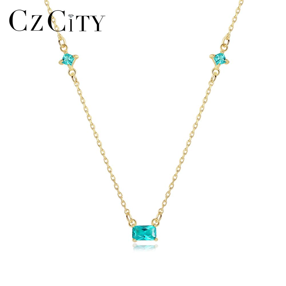 CZCITY Korean Design 925 Sterling Silver Green Topaz Square Pendant Necklaces For Sweet Girls Thin Chain Fine Jewelry SN0124