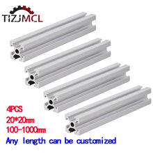 4PCS 100mm 2020 Aluminum Profile Extrusion European Standard Anodized Linear Rail