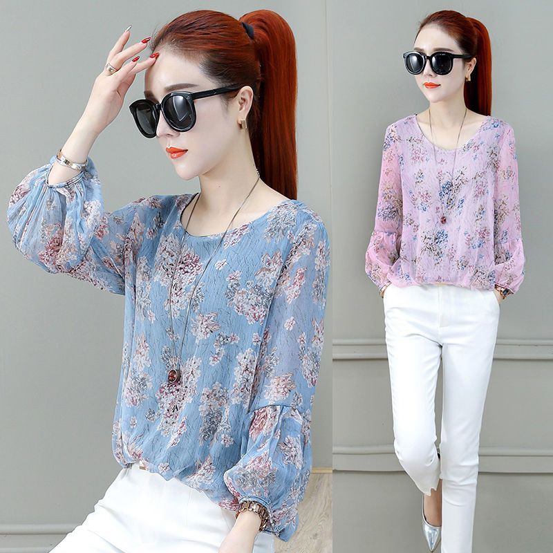 Women's Fashion Casual Floral Top Wild Loose Round Neck Long Sleeve Slim Perspective Chiffon Shirt