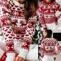 Vestido femenino de punto con estampado de ciervo rojo para otoño e invierno, suéter con estampado de Feliz Navidad, Top ajustado para fiesta y noche, 2021