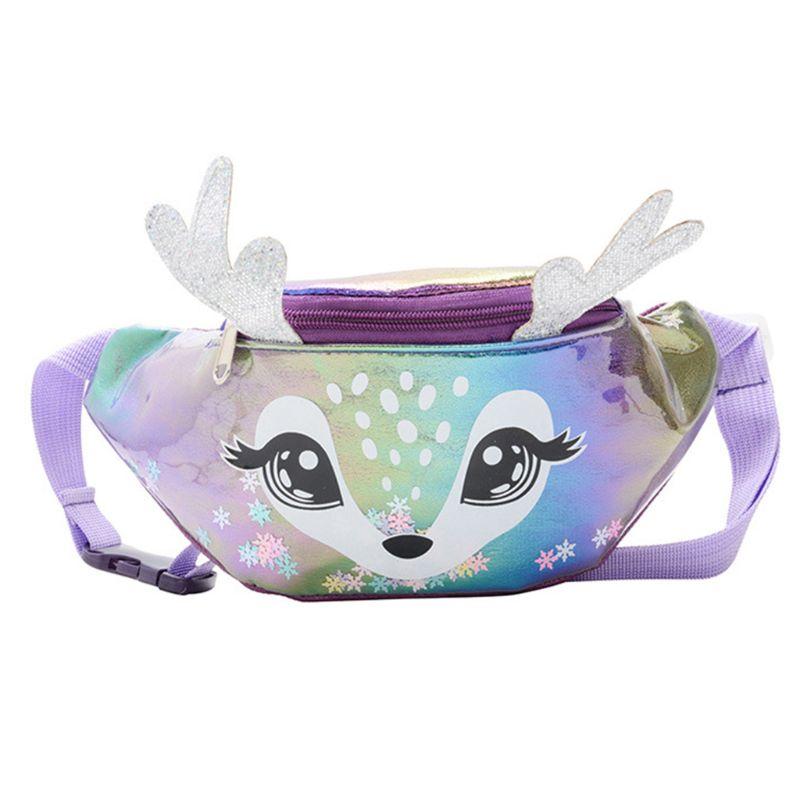 Kids Elk Print Waist Fanny Pack Belt Pouch Travel Hip Bum Shoulder Bag Purse
