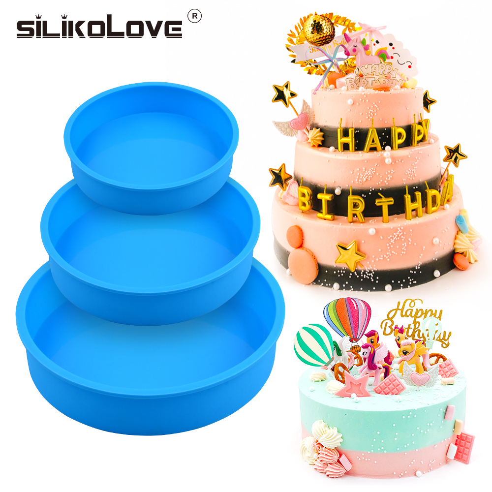 SILIKOLOVE Multi-layer Silicone Baking Mold Round Cake Pan DIY Dish Baking Forms