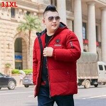 Chaqueta de plumón con capucha roja de talla grande para hombre, chaqueta de plumón de pato blanca juvenil de camuflaje, 10XL9XL, 11XL
