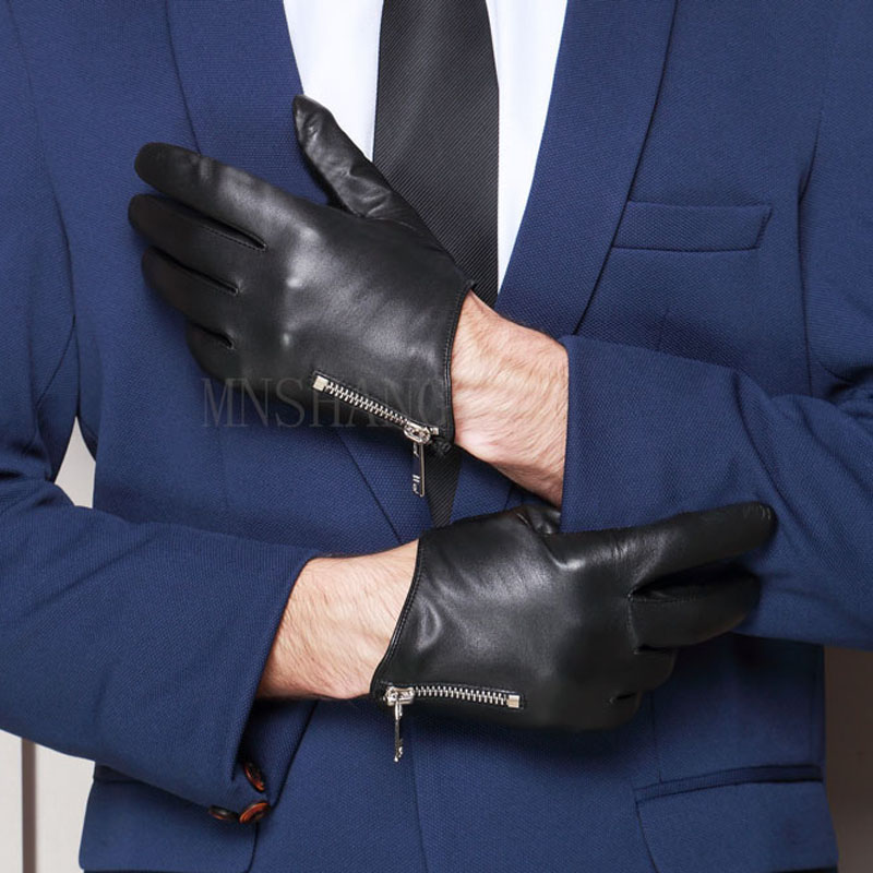 Man Fashion Cool Side Zipper Real Italy Leather Black Gloves
