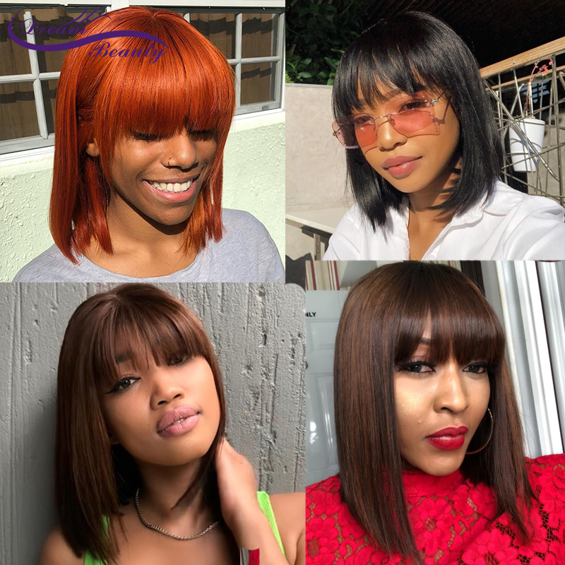 Orange 180% Lace Front Wigs With Bangs 13X4 Brazilian Straight Ombre Human Hair Bob Wigs Pre Plucked With Baby Hair Remy