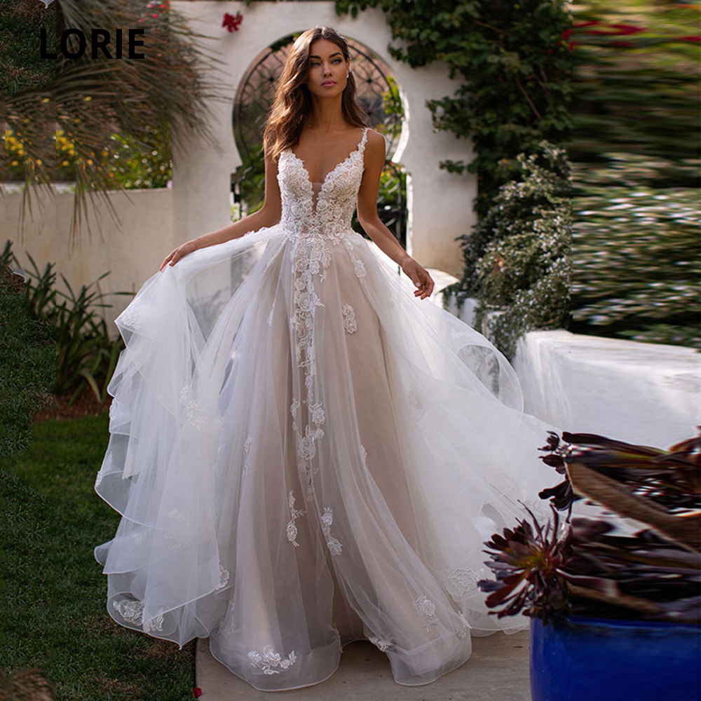 LORIE Princess Wedding Dresses Boho Spaghetti Straps V-neck Backless Bridal Gowns Lace Appliques Sweep Trian Sleeveless 2020 New