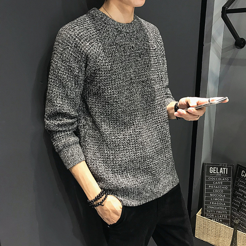 Winter Thick Sweater Men's Warm Slim Fashion Solid Color Casual Knit Pullover Man Wild Long-sleeved Sweater Large Size M-5XL