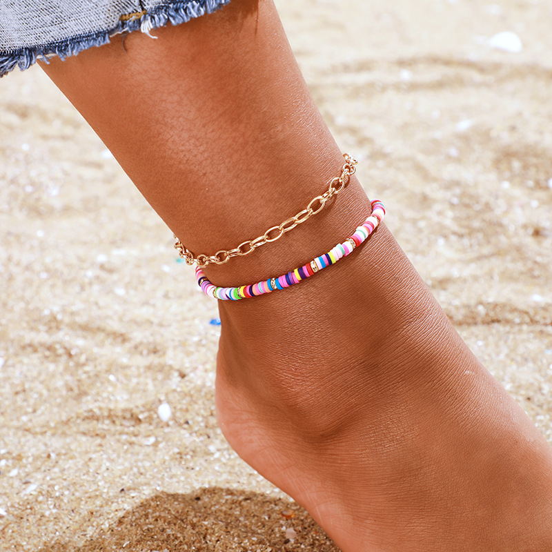 2 Pcs/set New Handmade Polymer Clay Anklet For Women Boho Colorful Chain Ankle Bracelet Femme Halhal Jewelry