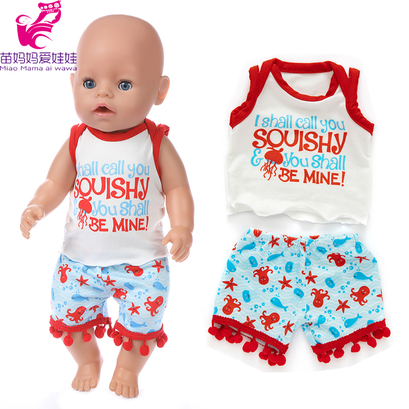43cm Baby Doll Summer Vest Short Pants For Baby New Born Doll Clothes 18 Inch American OG Girl Doll Outfits