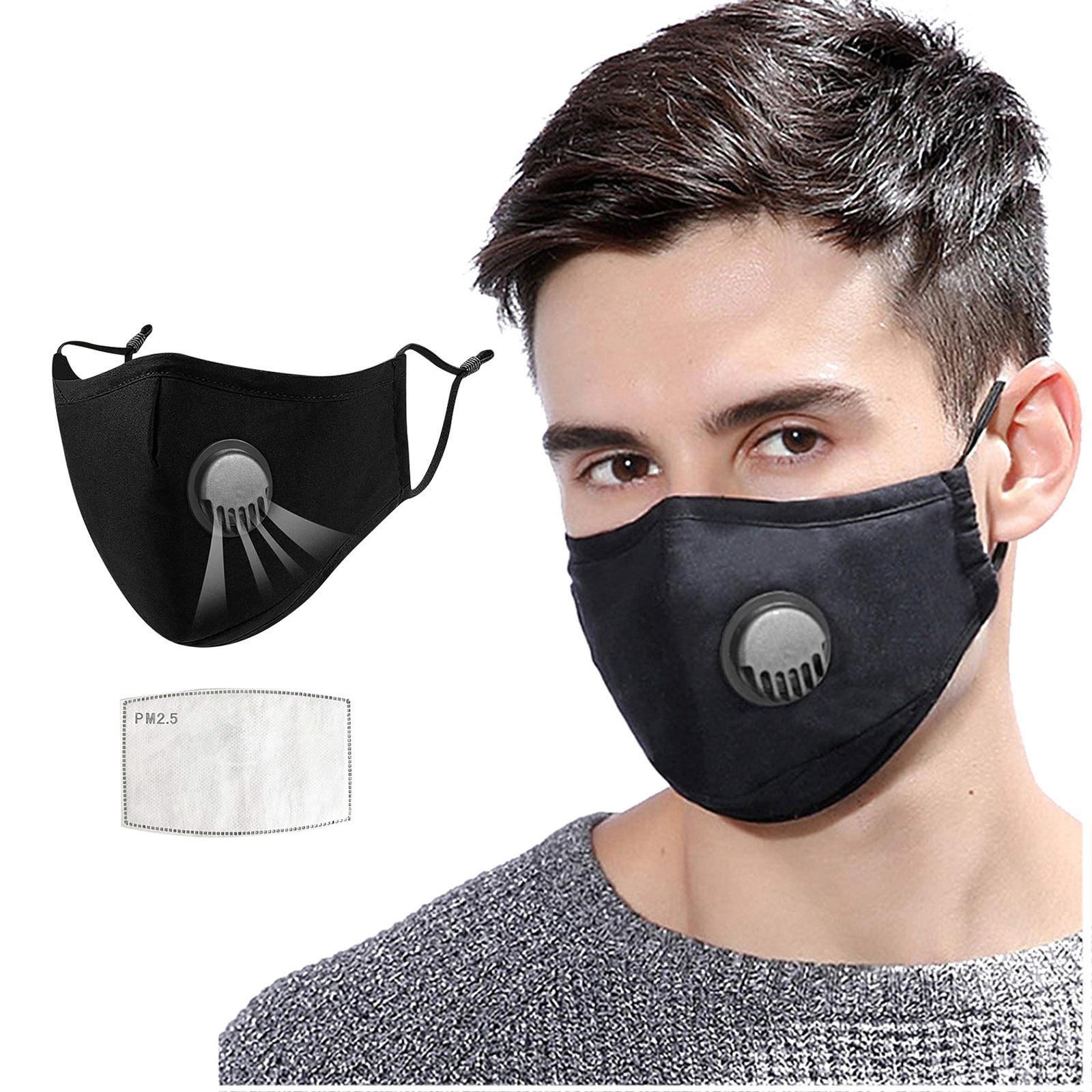 Máscara de boca preta reusável unisex máscara protetora ao ar livre mascarillas masque mondmasker válvulas respiratórias máscara de boca com filtro