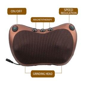Image 5 - Baş boyun masajı araba ev servikal Shiatsu masaj boyun geri bel vücut elektrikli çok fonksiyonlu masaj yastığı yastık