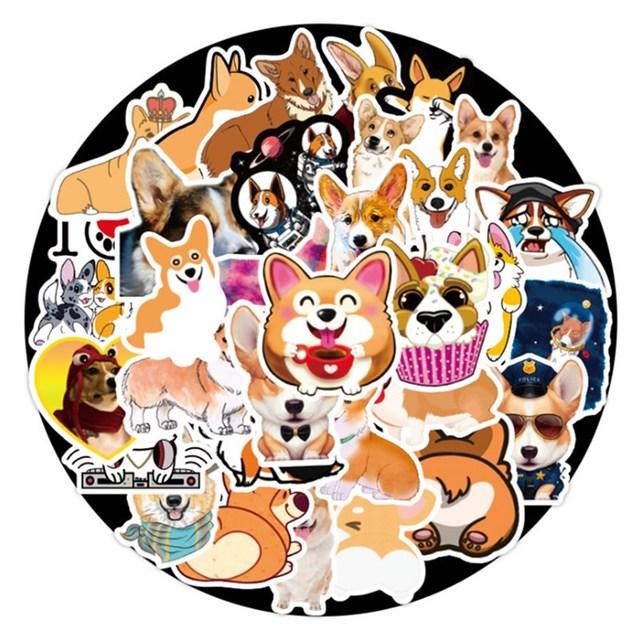 50pcs Corgi Cartoon Stickers Cute Animals Dog Laptop Suitcase Waterproof Label