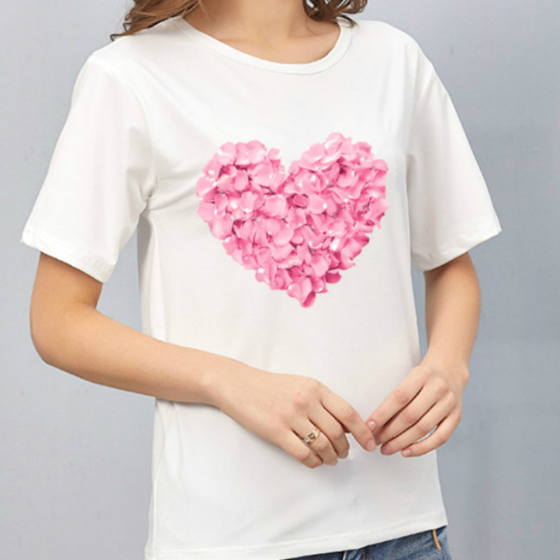 Harajuku Heart Print T Shirt Women Short Sleeve O Neck Loose Tshirt 2020 Summer Tee Tops Short Sleeve Female Camisetas Mujer