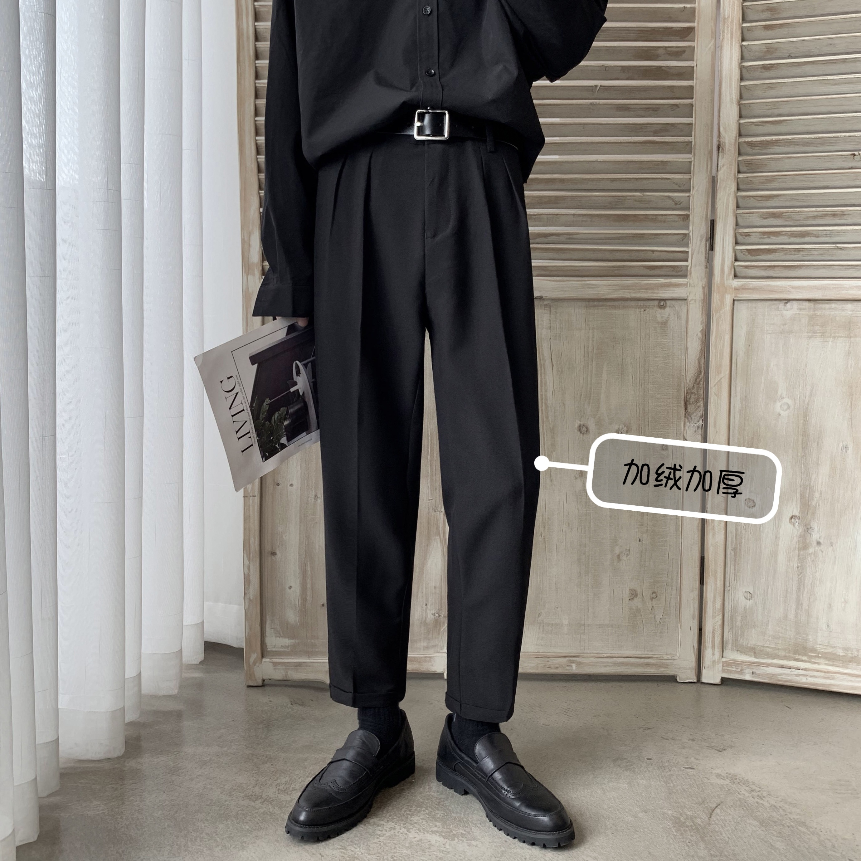 2019Autumn And Winter New Men's Fall Straight Leg Pants Fashion Casual Solid Color Plus Velvet Thick Small Trousers Black / Gray