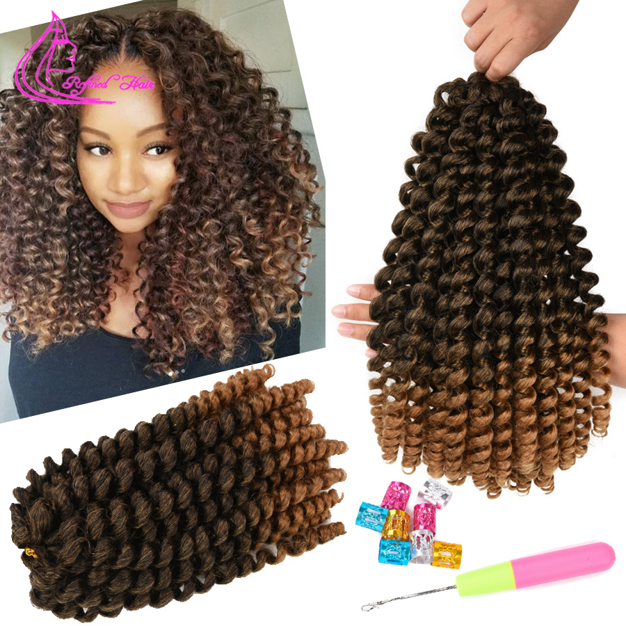 Ombre Braiding Hair Jumpy Wand Curl Crochet Braids Jamaican Bounce 8 12 inch Synthetic Hair Extensions for Women Brown Burgundy