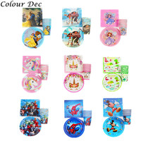 60Pcs Mickey Spider Man Unicorn Party Decoration Paper Plates Cups Napkins Cover Baby Shower Birthday Decors Kids Party Supplies