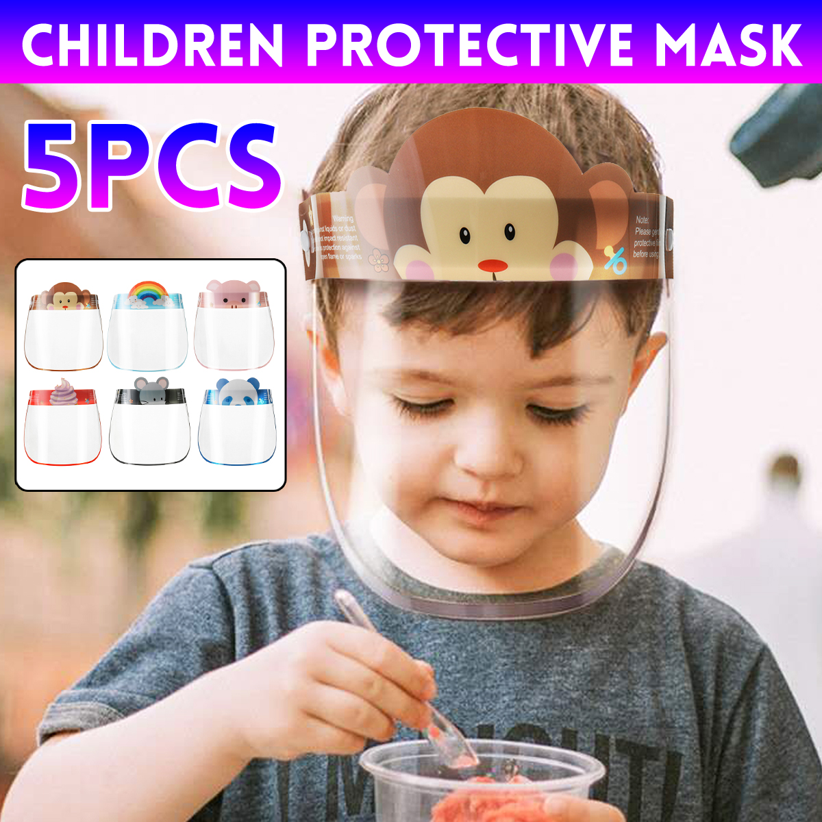 5PCS Kids Full Face Shield Mask Protective Visor Face Mask Plastic Anti Splash Anti Saliva Dust-proof Full Face Cover