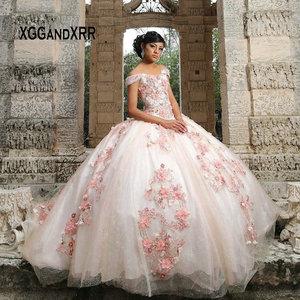 Rosa precioso vestido bola Quinceañera vestidos 2020 Sweetheart fuera del hombro rebordear flor dulce 15 16 vestidos niñas cumpleaños vestido
