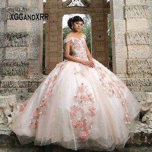 Rose belle robe de bal Quinceanera robes 2020 chérie hors épaule perles fleur douce 15 16 robes filles robe d'anniversaire