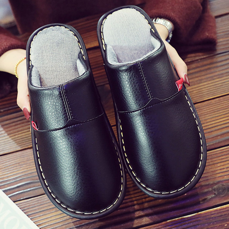 Indoor Slippers Men Leather Winter Shoes Short Plush Big Size 35-46 Flat Room Slippers Man's Winter Home Shoes 2019