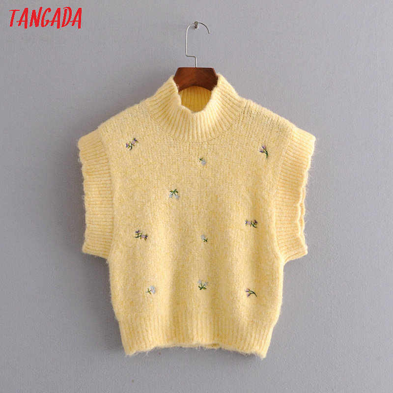 Tangada Korea Chic Women Embroidery Yellow Sweet Sweater Short Sleeve Vintage Ladies School Style Knitted Jumper Tops 3H352