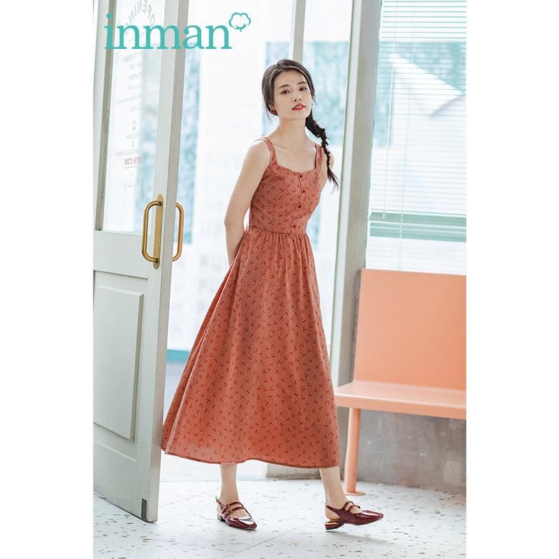 INMAN 2020 Summer New Arrival Square Collar High Waist Print SweetCool A-line Slip Dress