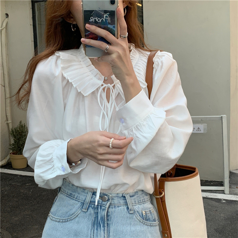 H0a76f72583a64b7986205b94ae9efd773 - Spring / Autumn Lace-Up Collar Long Sleeves Loose Solid Blouse