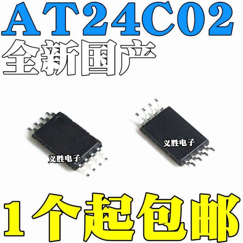 10 pçs/lote novo AT24C02-10TU-2.7 at24c02 24c02 remendo tssop8 ultra-fino pé denso