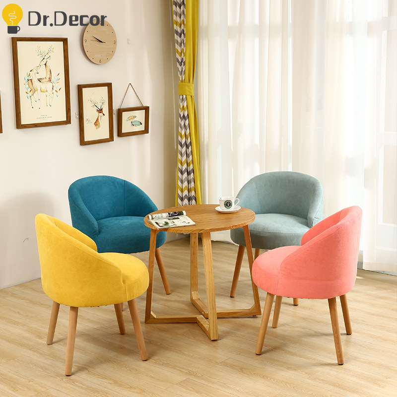 Nordic Colorful Fabric Sofa Casual Chair Solid Wood Living Room Home Furniture Dining Room Chairs Creative Personality Chair