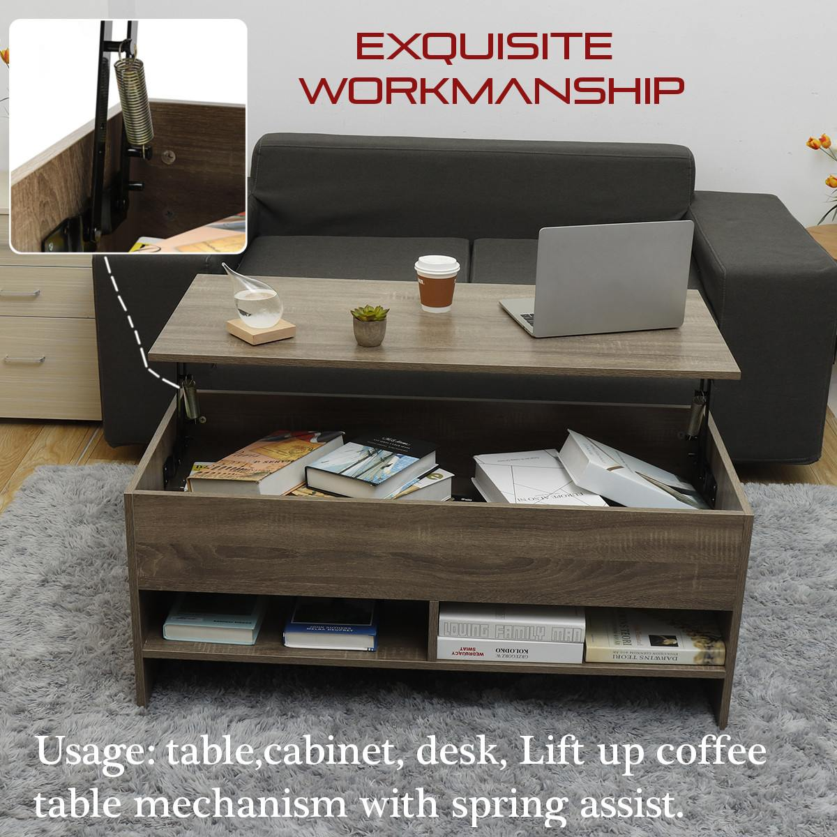 105x50x45cm Nordic Modern Adjustable Lifting Tea Table Sofa Side Table Living Room Multifunctional Furniture With Storage Space