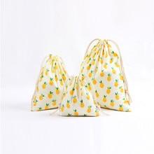 Натуральная многоразовая Льняная сумка на шнурке, Подарочная сумка, Рождественская сумка для ювелирных изделий с мультяшным принтом, рюкзак для путешествий, 3 размера