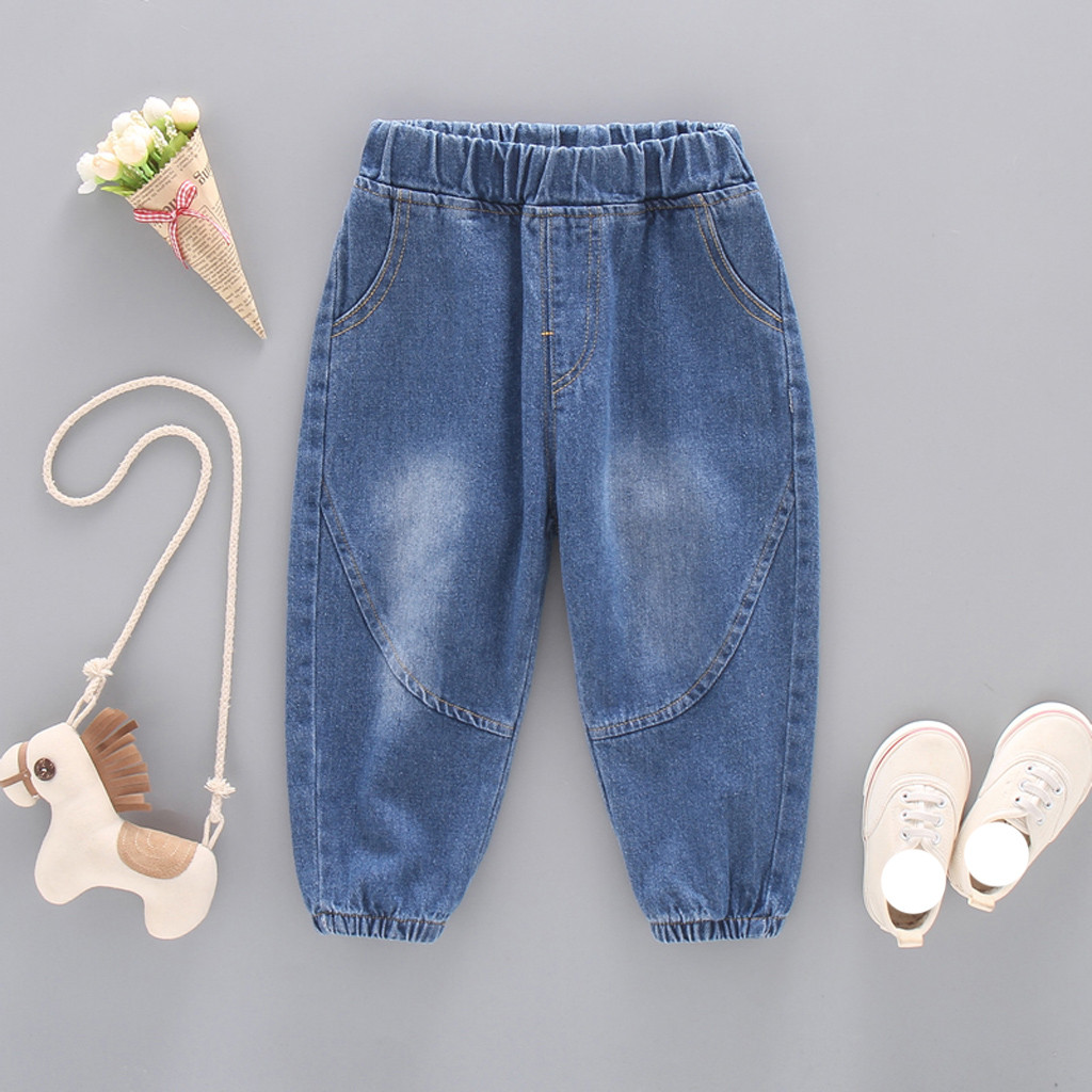 Boys Denim Jeans Trousers Leg-Pants Toddler Baby-Girls Children Solid-Color Wide Kid title=