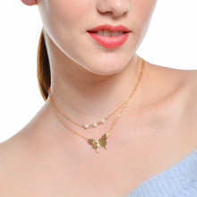 Fashion womens jewelry personality trend Necklace double-decked pearl-like Butterfly Pendant