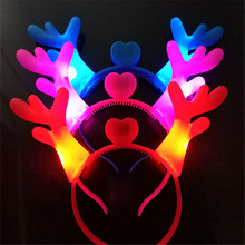 1PCS Decoration LED Light Multi-color Antler Christmas Headdress Headband Cartoon Kids Adult Holiday Diy Party Gift G