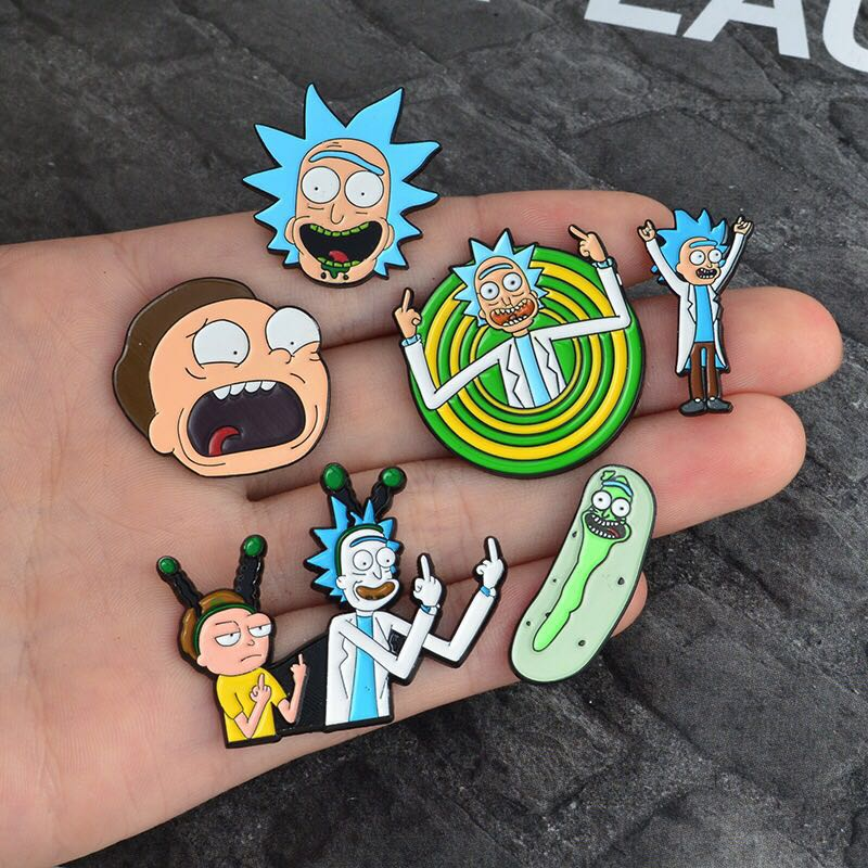Cartoon Anime Rick And Morty Pin Brooch Badge Funny Scientist Cosplay Prop Accessories Rick E Morty Lapel Pin Brooch Gift Mini