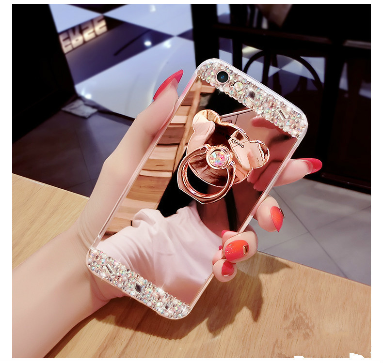 H0a7758779f4541b999ca81fb4a91cb63R Crystal Phone Case For iPhone 11 Pro Max Diamond Luxury Cover For iPhone 7 8 6 6s Plus Rhinestone Mirror For iPhone XS XR Xs Max