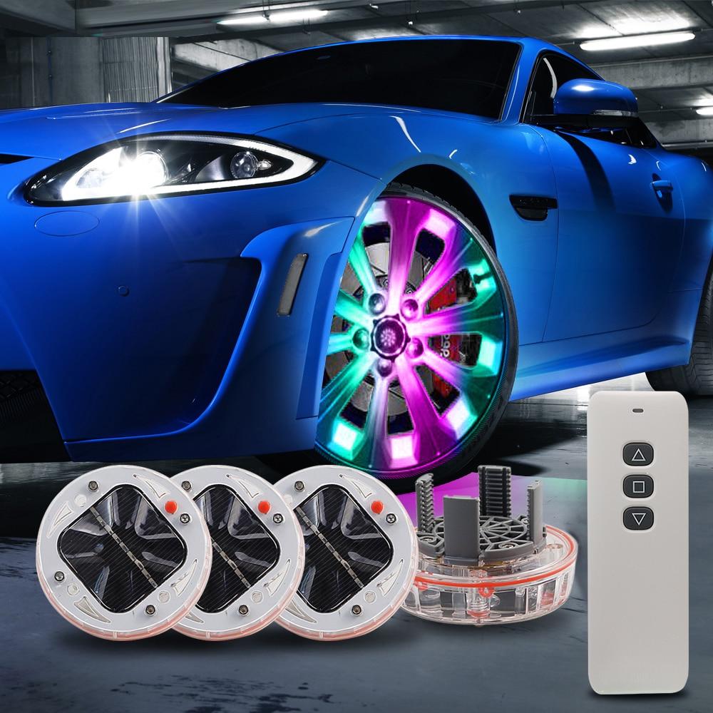 LEADTOPS 4pcs RGB Powered Car Light Wheel External Lights Colorful Auto Turn ON/OFF Wheel RGB Tire LED Decoration Lamp CJ
