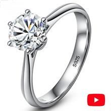 خاتم الماس نعم أفعل كلاسيكي بسيط 1 قيراط حلم اقتراح S925 فضة 925 سوليتير قطع مستديرة 6 مخالب